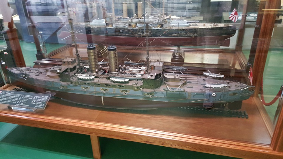 The main museum area house several very large-scale models of Imperial Japanese Navy ships that served in the Russo-Japanese War. Photo: author.