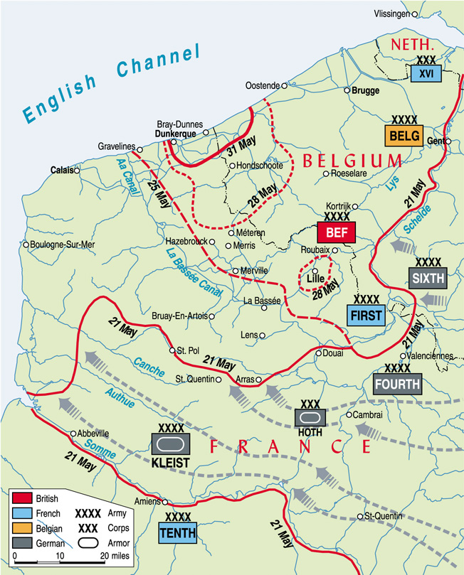 The campaign in France from 21 May to 31 May, ending with the encirclement of the BEF and elements of the French and Belgian armies at Dunkirk. Source: Warfare History Network.