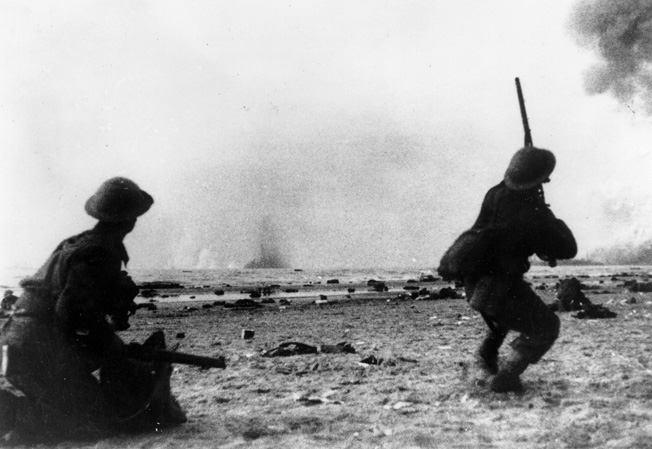Amidst the seemingly endless Luftwaffe attacks, BEF soldiers take aim at attacking bombers with their rifles. Photo source: Warfare History Network.