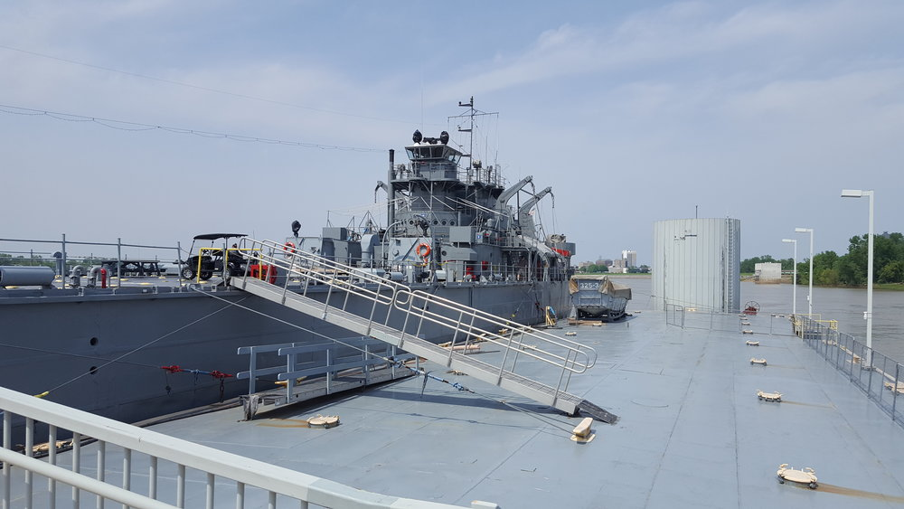 USS LST-325 moored at its home port in Evansville, Indiana in April 2017. Photo source: author.