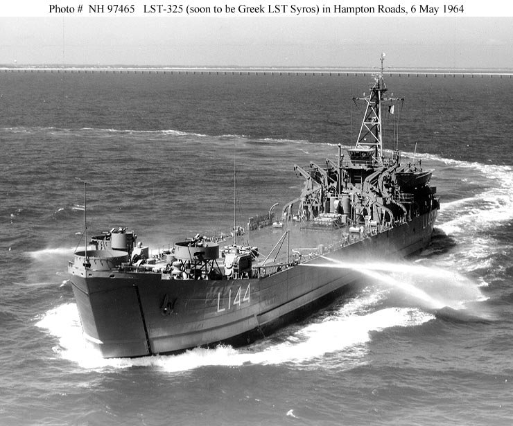 USS LST-325 in 1964, not long before she was transferred to the Greek Navy. Photo source: Navsource.org.