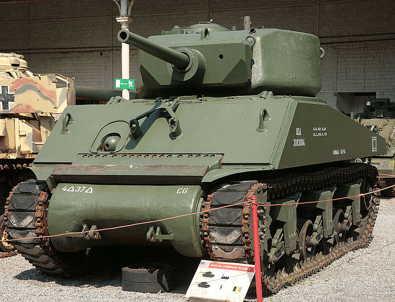 "A M4A3E2 ""Jumbo"" Sherman, which featured much thicker armor and a 105mm main gun. Thanks to their durability, the Jumbo Shermans were preferred for use in leading assaults. Photo source: Wikipedia."