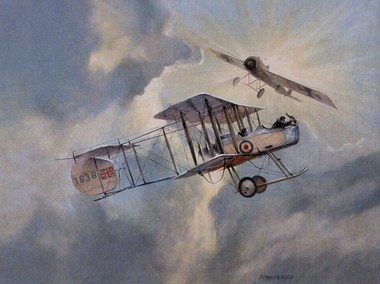 A Gunbus is attacked by a Fokker Eindecker- by late 1915, increasing numbers of Eindeckers had rendered the Gunbus design hopelessly obsolete. Photo source: HiPM Models.