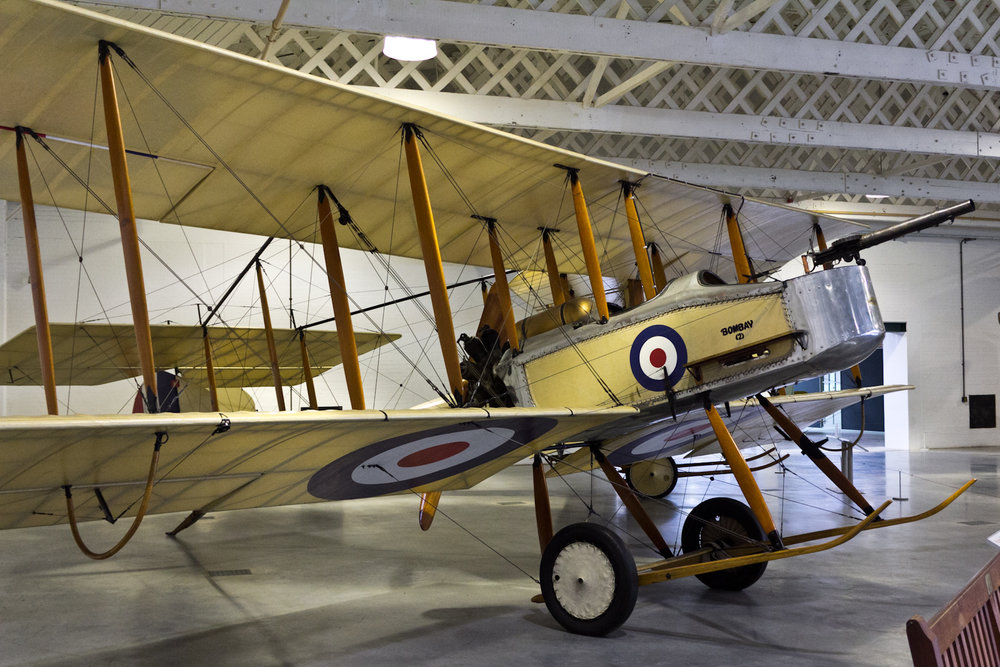 The sole replica Vickers Gunbus, which is currently on display in the Hendon RAF Museum. Photo source: Flikr.