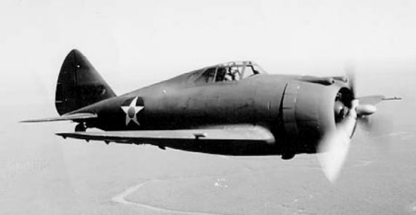A Seversky P-43 Lancer in pre-war markings. The design already shares the jug-shaped fuselage which would distinguish the P-47. Photo: Wikipedia.