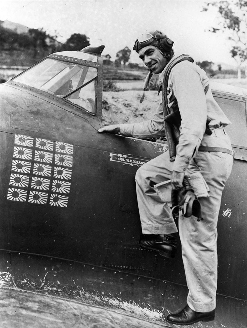 Col. Neel Kearby, the highest-scoring P-47 ace in the Pacific. Flying with the 348th Fighter Group, Kearby racked up 21 kills by March 1944 over the South Pacific. On March 5th, Kearby was on a mission near Wewak when he encountered a formation of Japanese Ki-43 fighters. After shooting down one, Kearby himself was shot down and killed. The remains of his P-47D, Fiery Ginger IV, are on display in the National Museum of the United States Air Force. Photo source: Wikipedia.