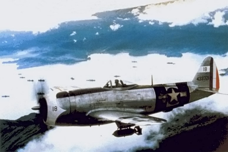 A Mexican Air Force P-47D in flight over the Philippines in early 1945. Photo source: Wikipedia.
