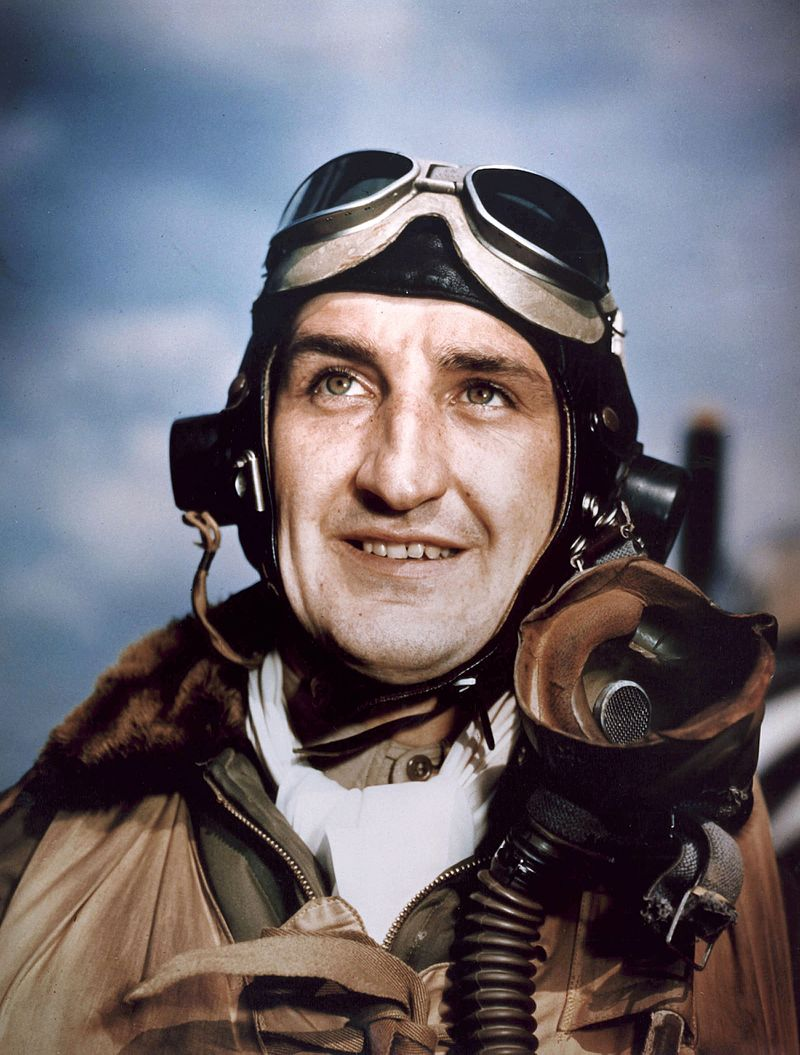 LTC Francis Gabreski of the 56th Fighter Group was the leading ace of the 8th Air Force with 28 confirmed victories. On July 20, 1944, during the final mission of his tour in Europe, Gabreski flew too low during a strafing pass on a German airfield and his propeller struck the ground, forcing him to crash land. He spent the remainder of the war as a POW. After the war, Gabreski continued to fly with the Air Force, shooting down six MiGs in the Korean War and retiring in 1967 as a Colonel. He died in 2002 at the age of 83. Photo source: Wikipedia.