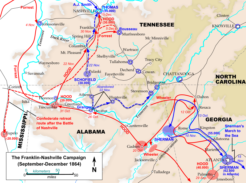 Movements during the Franklin-Nashville campaign leading up to the Battle of Franklin. Photo: Wikipedia.