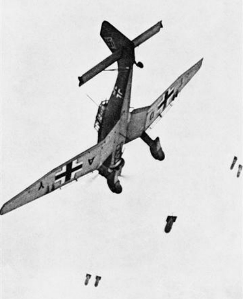One of the best-known images of a Stuka, preparing to pull out if its dive after releasing  its bombs. Source: Wikipedia.