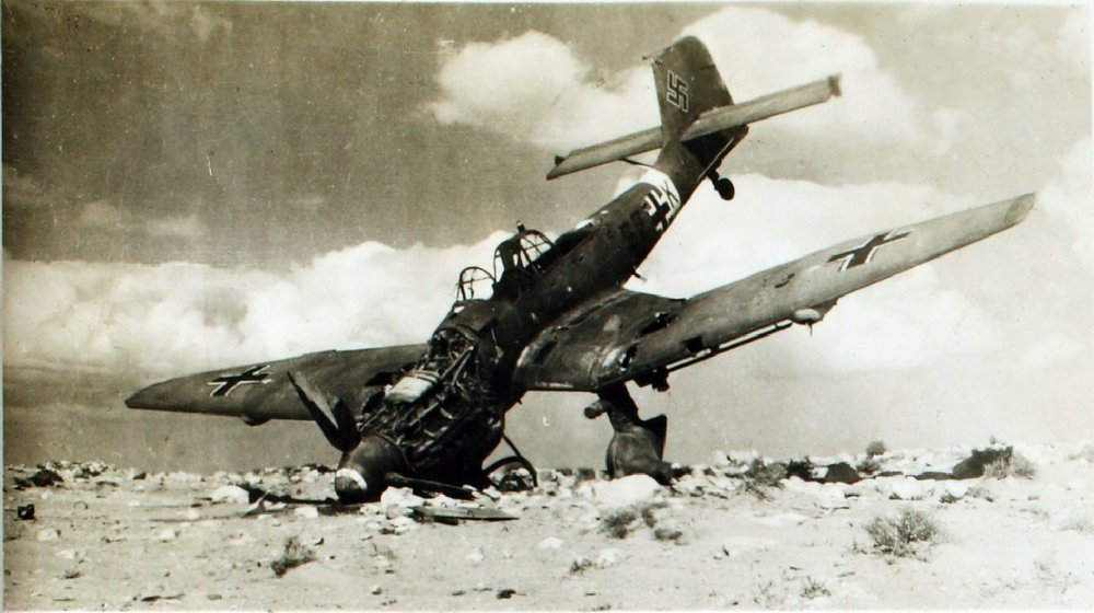 This Ju-87 has been damaged in a crash-landing and of parts. With Allied air power becoming ever more powerful, the Stuka found itself  in increasingly hostile skies, in which it could not long survive.