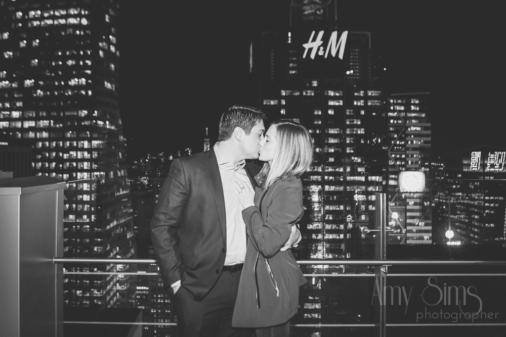 @Amy Sims Photography | New York Wedding Photography | Proposal | Bar 54 at Hyatt Times Square | New York Skyline | Black & White
