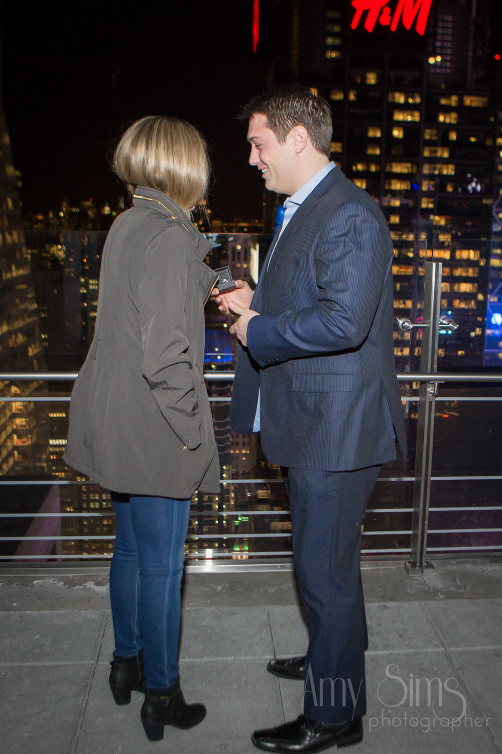 @Amy Sims Photography | New York Wedding Photography | Proposal | Bar 54 at Hyatt Times Square | New York Skyline