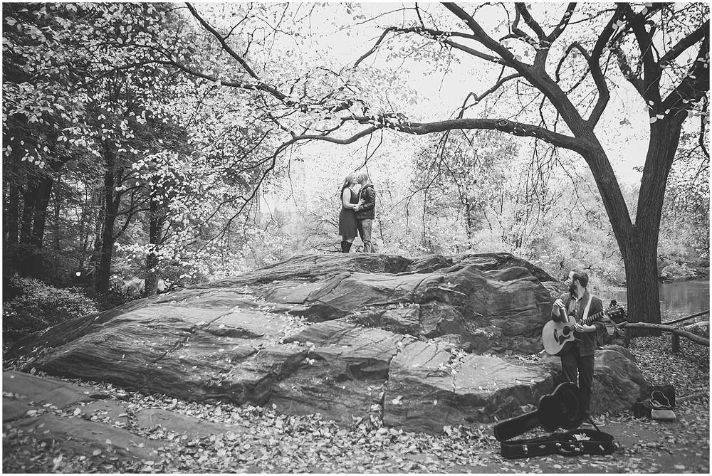 @Amy Sims Photography   New York Wedding Photography   Shelley & Eric   Central Park   Fall Engagement Shoot   Black & White Portrait