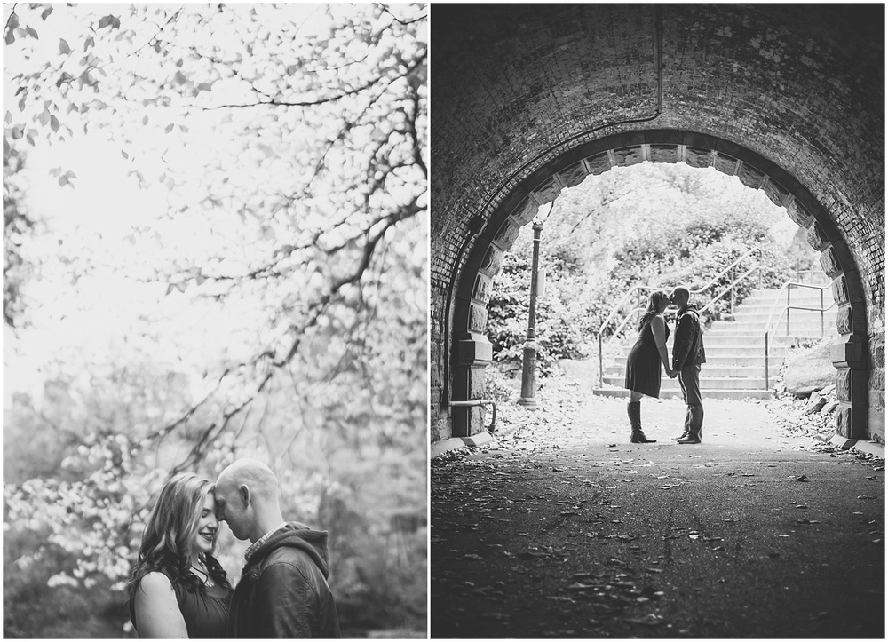 @Amy Sims Photography | New York Wedding Photography | Shelley & Eric | Central Park | Fall Engagement Shoot | Kiss in a tunnel | Black & White Portrait