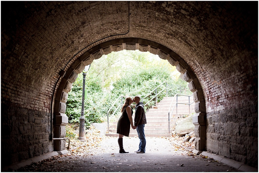 @Amy Sims Photography   New York Wedding Photography   Shelley & Eric   Central Park   Fall Engagement Shoot   Kiss in a tunnel