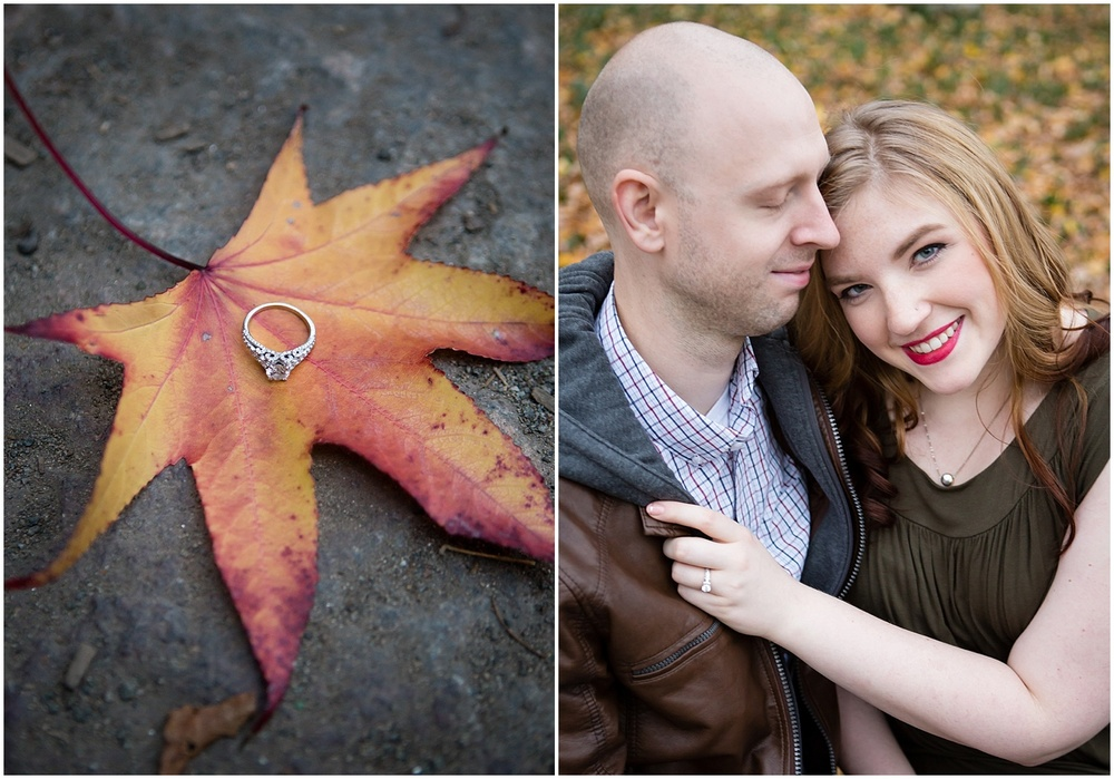 @Amy Sims Photography | New York Wedding Photography | Shelley & Eric | Central Park | Fall Engagement Shoot | Engagement Ring on Leaf