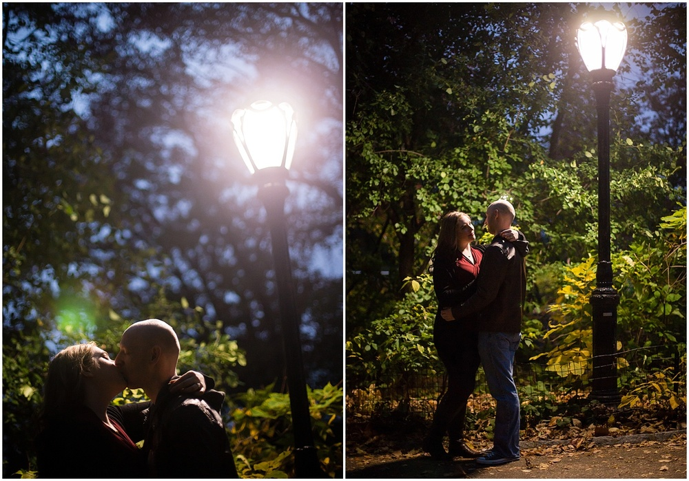 @Amy Sims Photography   New York Wedding Photography   Shelley & Eric   Central Park   Fall Engagement Shoot   Night Portrait