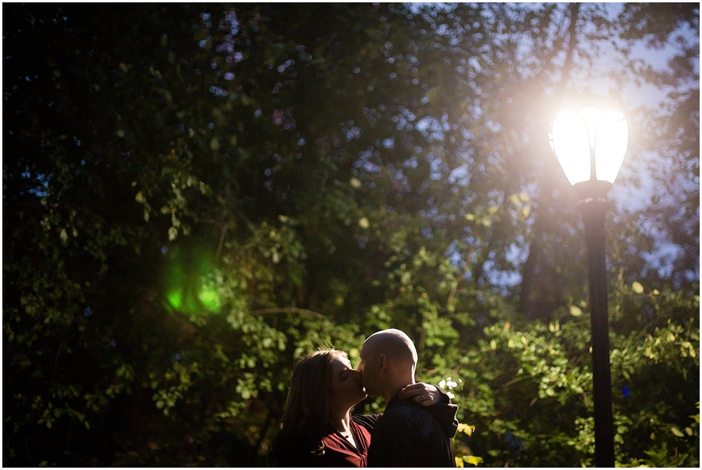 @Amy Sims Photography   New York Wedding Photography   Shelley & Eric   Central Park   Fall Engagement Shoot   Night Portrait by lamp post
