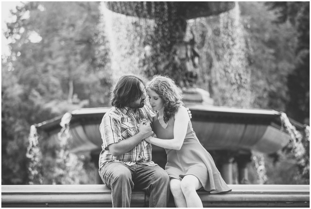 @Amy Sims Photography | New York Wedding Photography | Kelsey & Anish | Central Park l Engagement Shoot | Black & White Bethesda Fountain