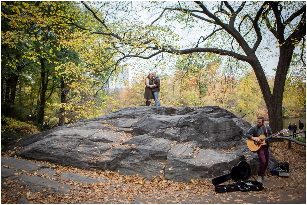 @Amy Sims Photography | New York Wedding Photography | Shelley & Eric | Central Park | Fall Engagement Shoot | Street Musician