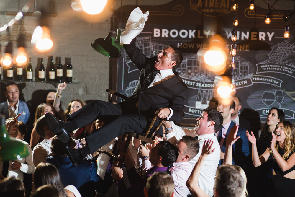 @Amy Sims Photography | New York Wedding Photography | Williamsburg Wedding | Brooklyn Wedding | Brooklyn Winery | Father in chair during Hora