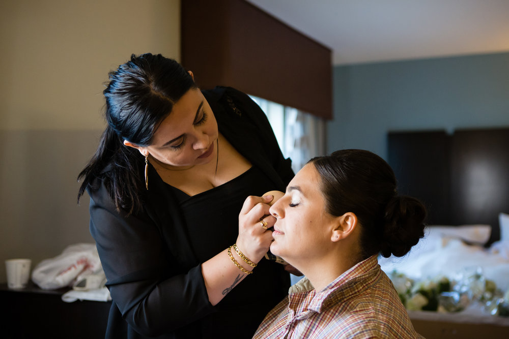 Bride gets make-up done - New Rochelle wedding - New York wedding - Hudson Valley wedding - Heather & Ian's wedding - Amy Sims Photography