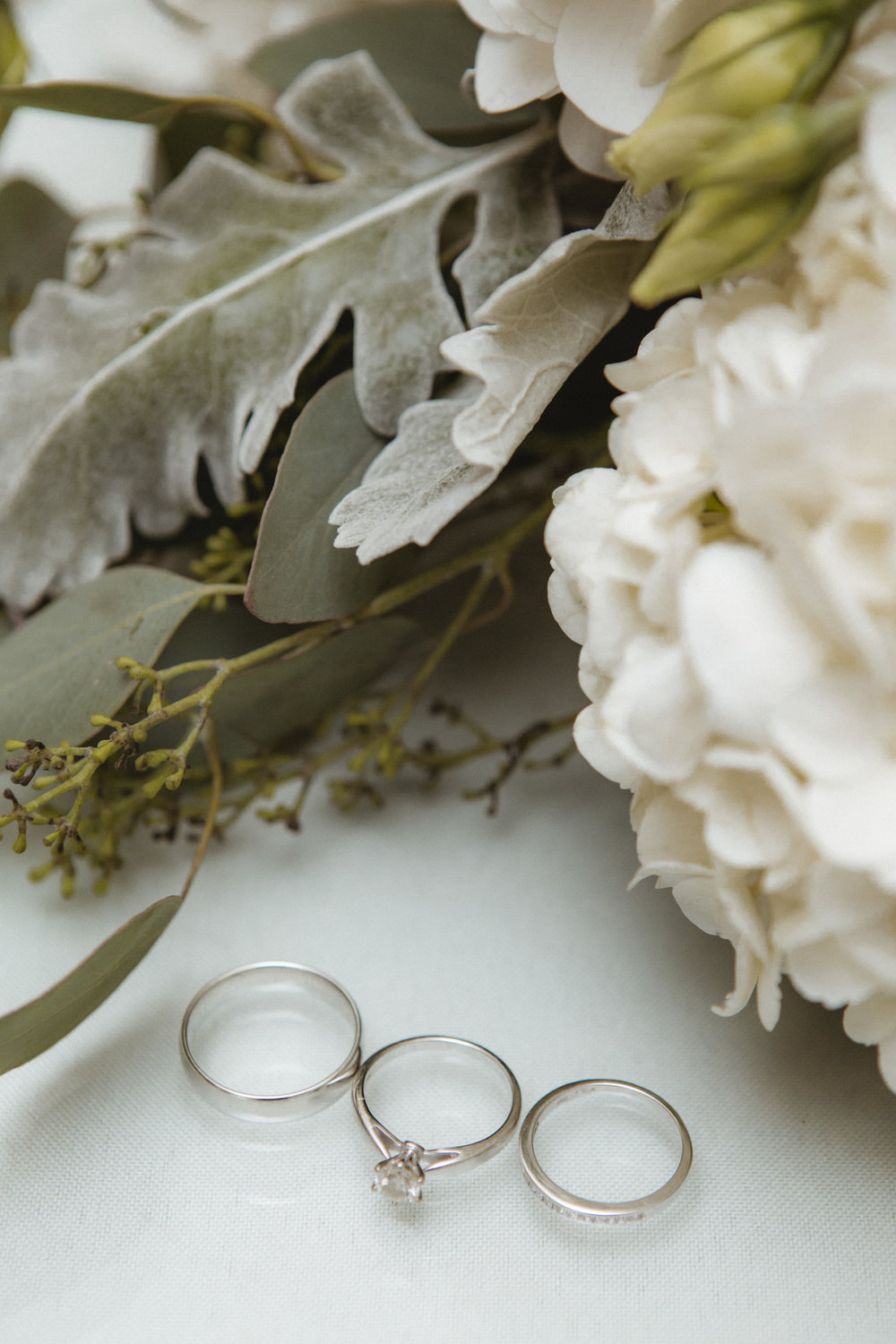 Wedding rings lay next to floral details - New Rochelle wedding - New York wedding - Hudson Valley wedding - Heather & Ian's wedding - Amy Sims Photography
