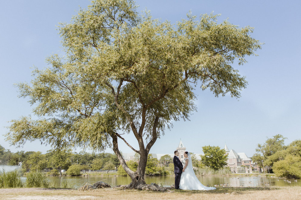 Bride and Groom hold hands under a lone tree, by a lake with a clear blue sky - Bride wears lace gown, bridesmaids wear navy, floor length gowns from Alexia Designs. White & green bouquets from Arcadia Florists - New Rochelle wedding - New York wedding - Hudson Valley wedding - Heather & Ian's wedding - Amy Sims Photography