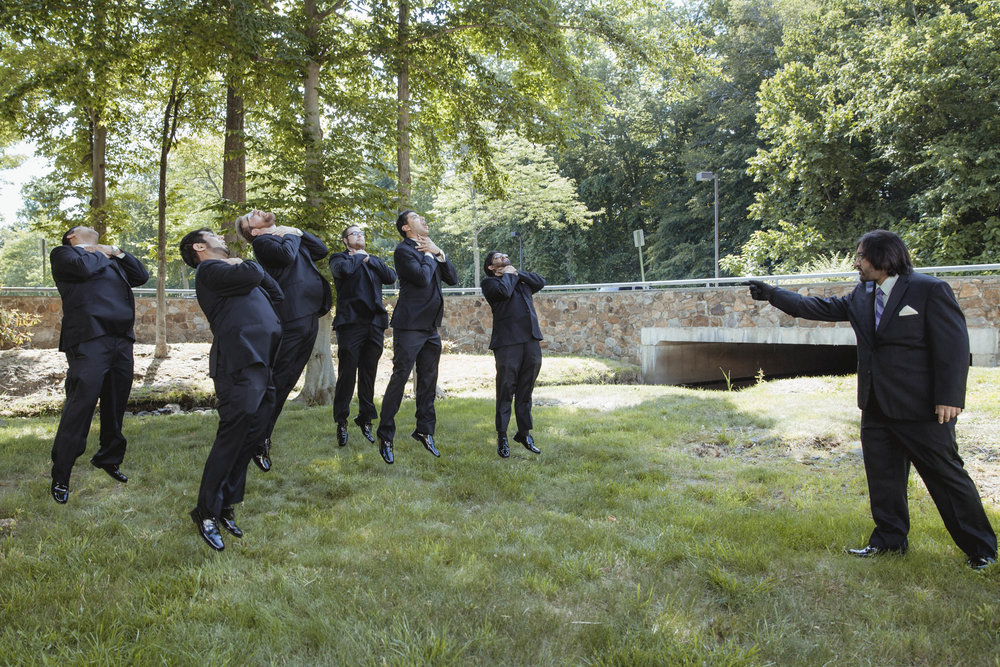 Groom force chokes he's disobedient groomsmen, Darth Vader style - Estate at Florentine Gardens wedding - Hudson Valley Wedding - Kelsey & Anish's wedding - Amy Sims Photography