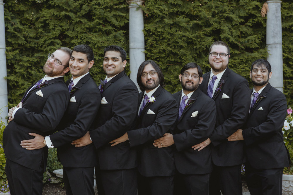 Groom and groomsmen do longest awkward prom photo pose - Estate at Florentine Gardens wedding - Hudson Valley Wedding - Kelsey & Anish's wedding - Amy Sims Photography