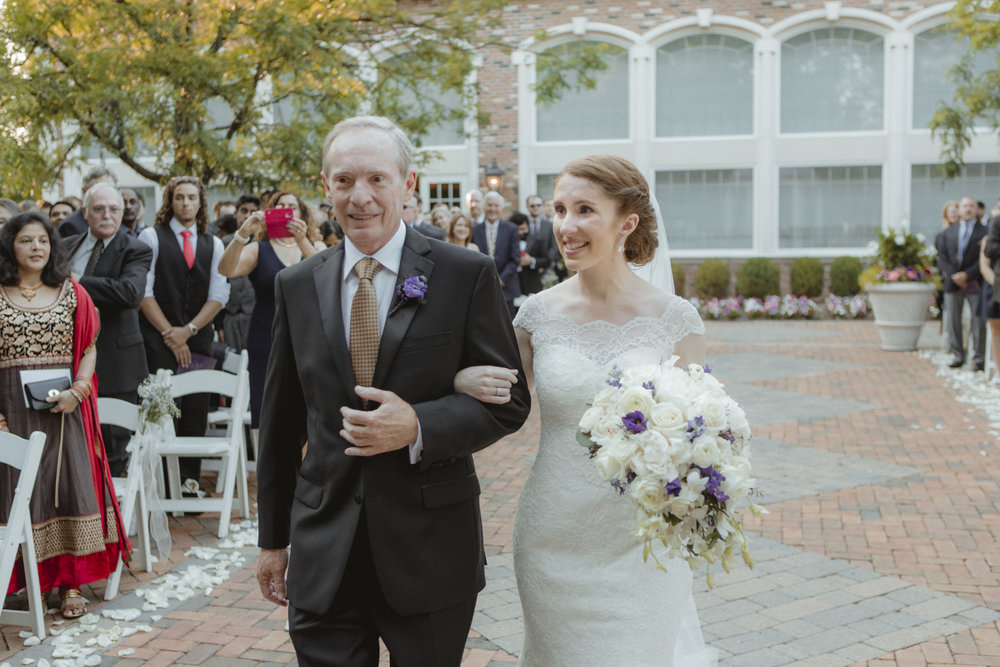 Bride walks down the aisle with her father - Estate at Florentine Gardens wedding - Hudson Valley Wedding - Kelsey & Anish's wedding - Amy Sims Photography