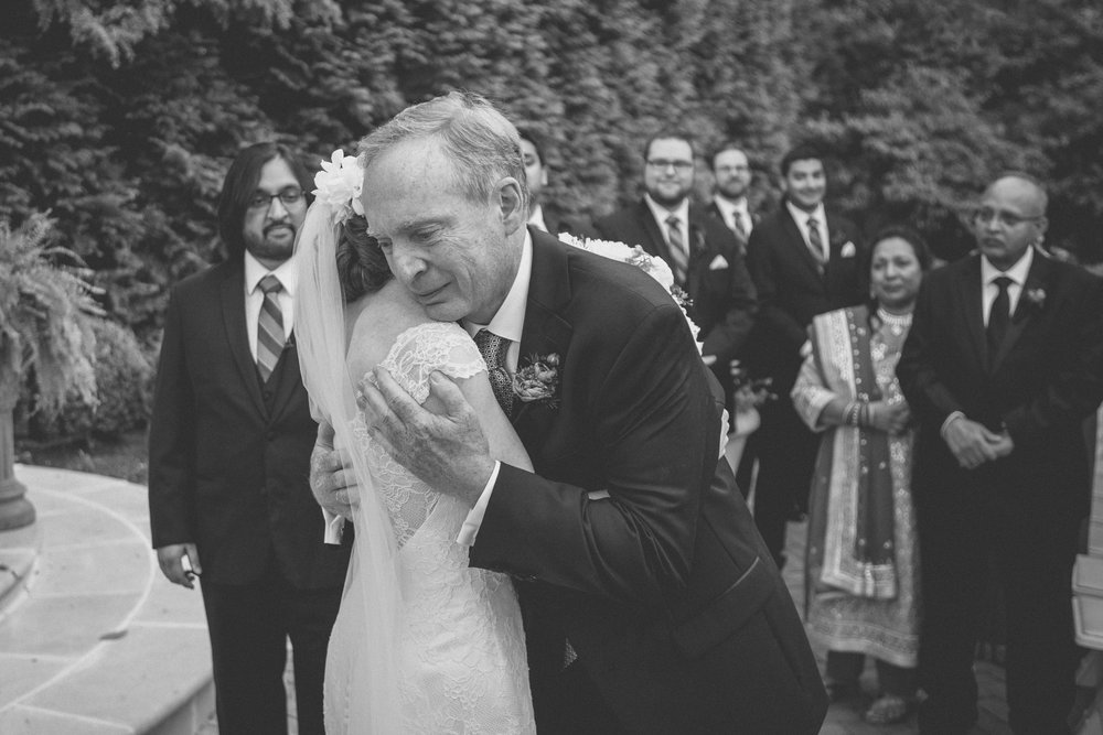 Father hugs his daughter - Estate at Florentine Gardens wedding - Hudson Valley Wedding - Kelsey & Anish's wedding - Amy Sims Photography