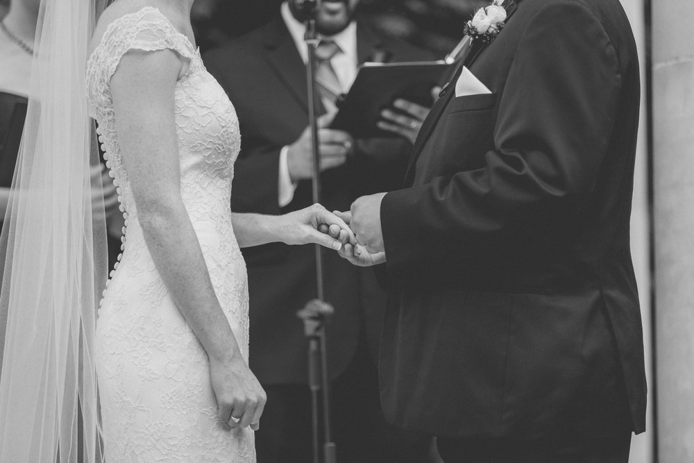 Couples hands as they exchange rings - Estate at Florentine Gardens wedding - Hudson Valley Wedding - Kelsey & Anish's wedding - Amy Sims Photography