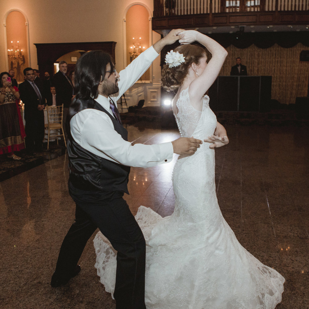 Groom twirls bride during their first dance - Estate at Florentine Gardens wedding - Hudson Valley Wedding - Kelsey & Anish's wedding - Amy Sims Photography