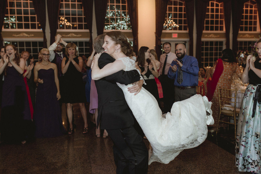 Father picks up and spins bride - Estate at Florentine Gardens wedding - Hudson Valley Wedding - Kelsey & Anish's wedding - Amy Sims Photography