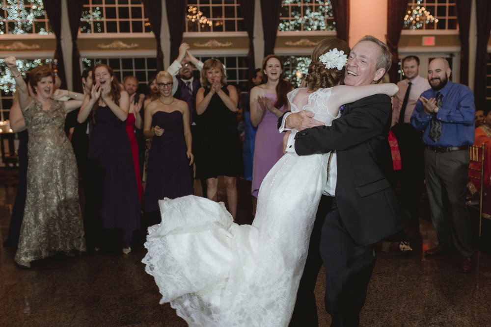 Father beams as his spins his daughter on her wedding day - Estate at Florentine Gardens wedding - Hudson Valley Wedding - Kelsey & Anish's wedding - Amy Sims Photography