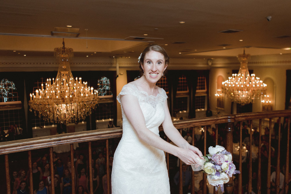 Bride prepares to throw her bouquet - Estate at Florentine Gardens wedding - Hudson Valley Wedding - Kelsey & Anish's wedding - Amy Sims Photography