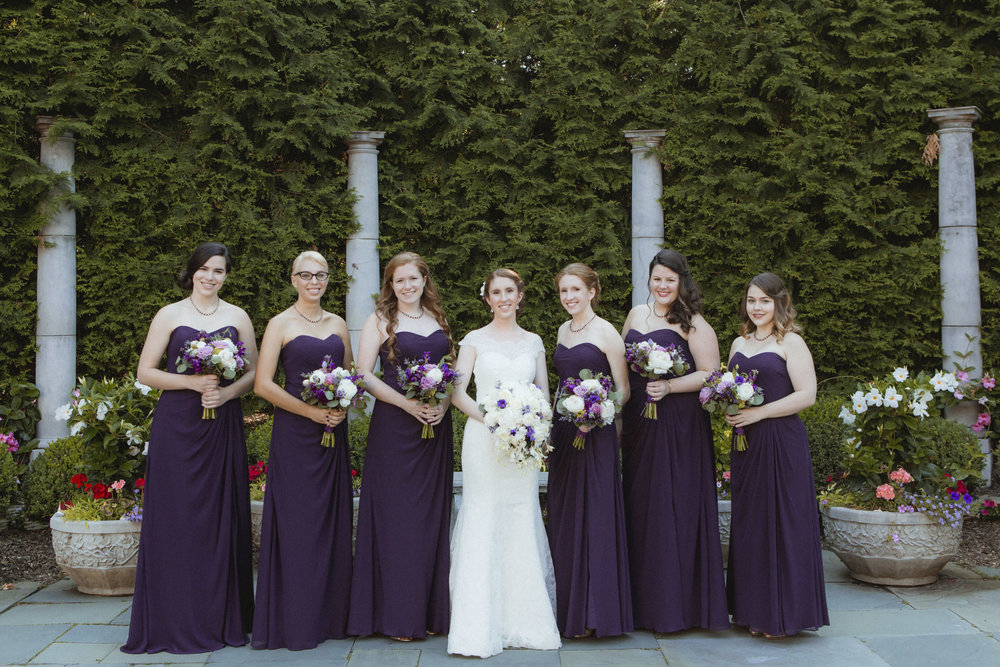 Bride wears lace, Augusta Jones gown, Bridesmaids wear floor length, purple, Bill Levkoff gowns - Estate at Florentine Gardens wedding - Hudson Valley Wedding - Kelsey & Anish's wedding - Amy Sims Photography