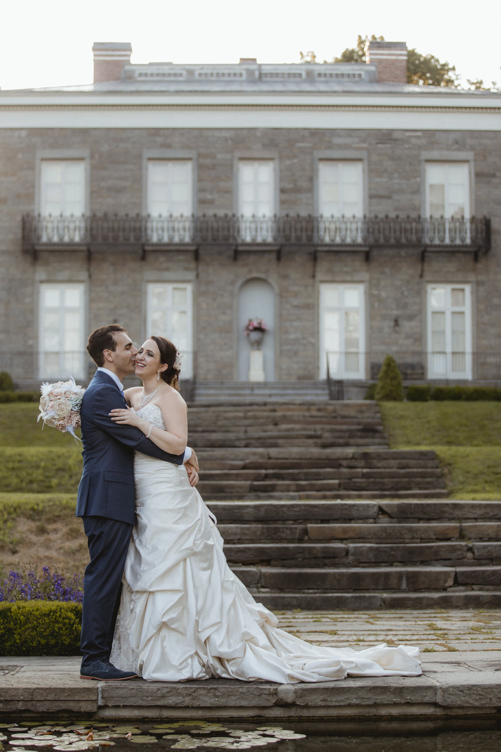 Groom kisses bride on the cheek | Bartow-Pell Mansion wedding | Manhattan wedding | Bronx Wedding | Cathy & Antonello's wedding | Amy Sims Photography