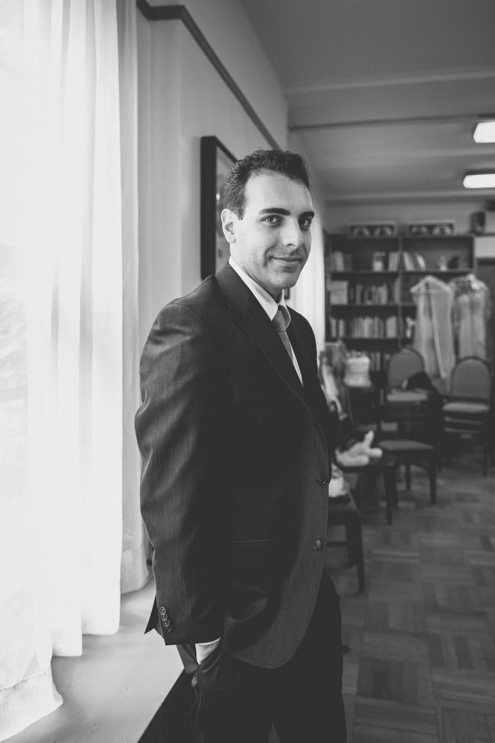 Groom waits in room inside church before the ceremony | Our Lady of Pompeii wedding | Manhattan wedding | Bronx Wedding | Cathy & Antonello's wedding | Amy Sims Photography