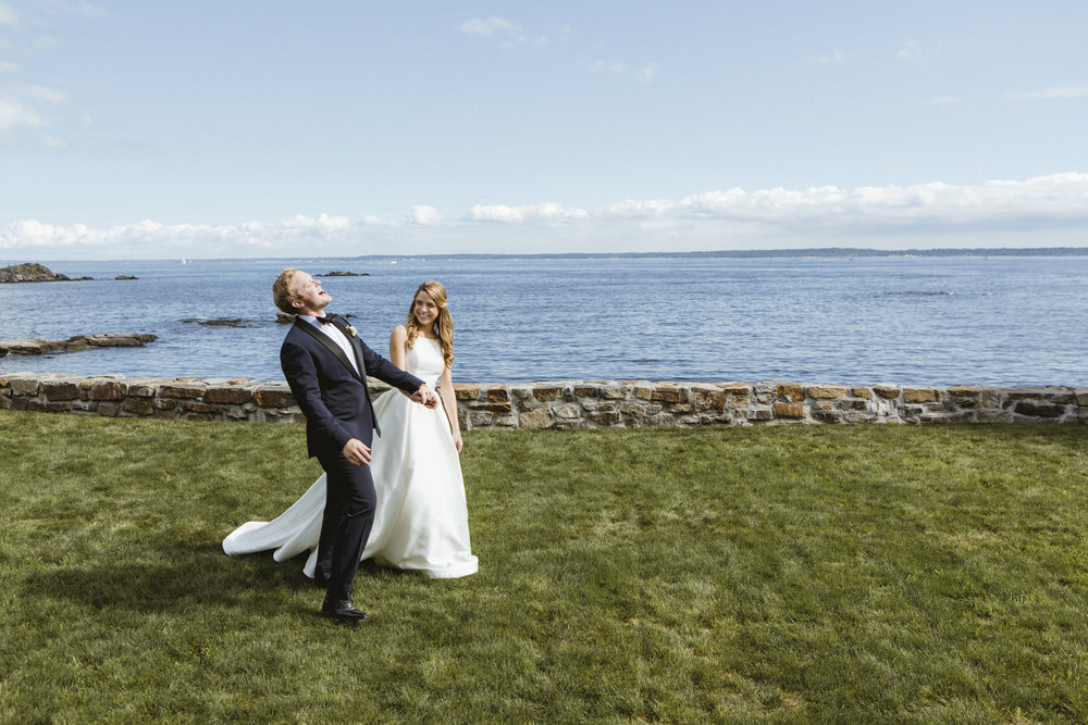 Amy Sims Photography | Groom throws head back laughing while bride smiles at him | Westchester Wedding Photographer | New York Wedding Photographer