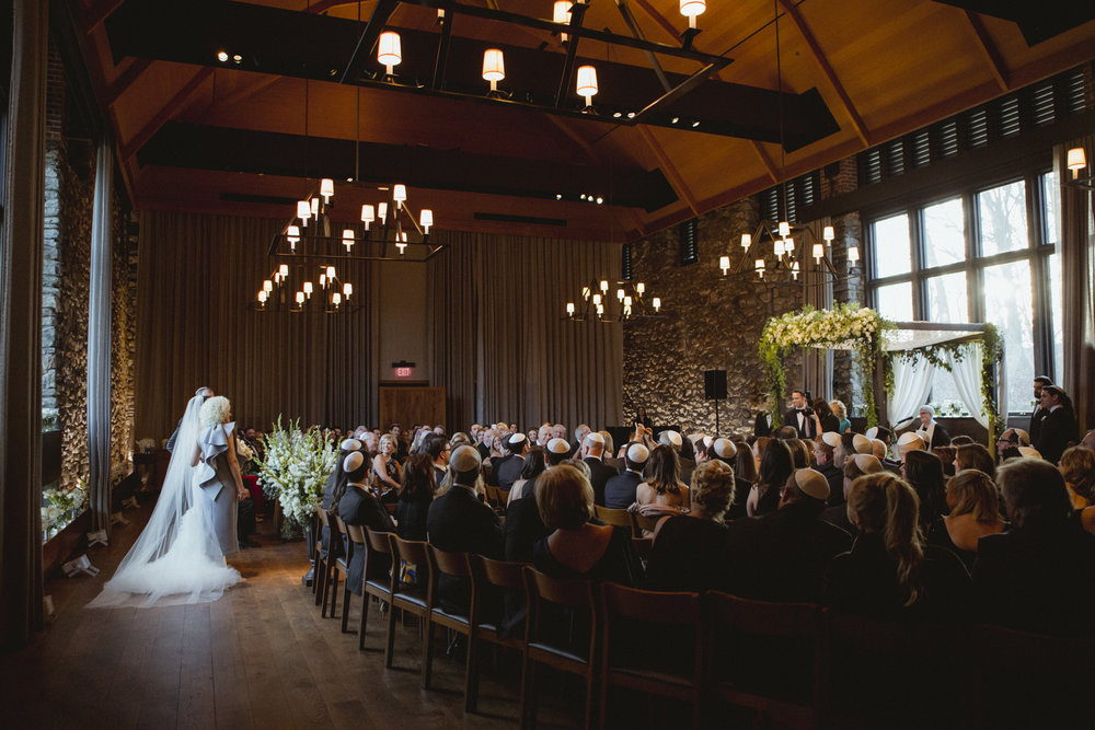 Amy Sims Photography | bride and parents at the top of aisle as the groom and guests look on | Blue Hill Farm Wedding | Westchester Wedding | New York Wedding
