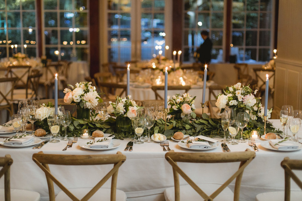 Amy Sims Photography | long table setting with garland of eucalyptus down center of table | Central Park Wedding | Loeb Boathouse Wedding | New York Wedding Photographer | Manhattan Wedding Photographer