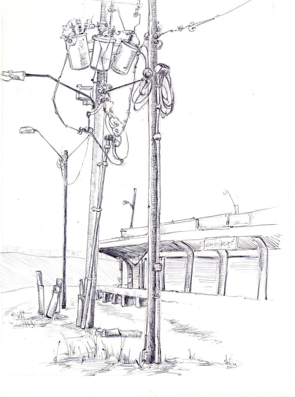 "Wires, Old Farmer's Market, 4"" 6"", ball point pen, 2014"