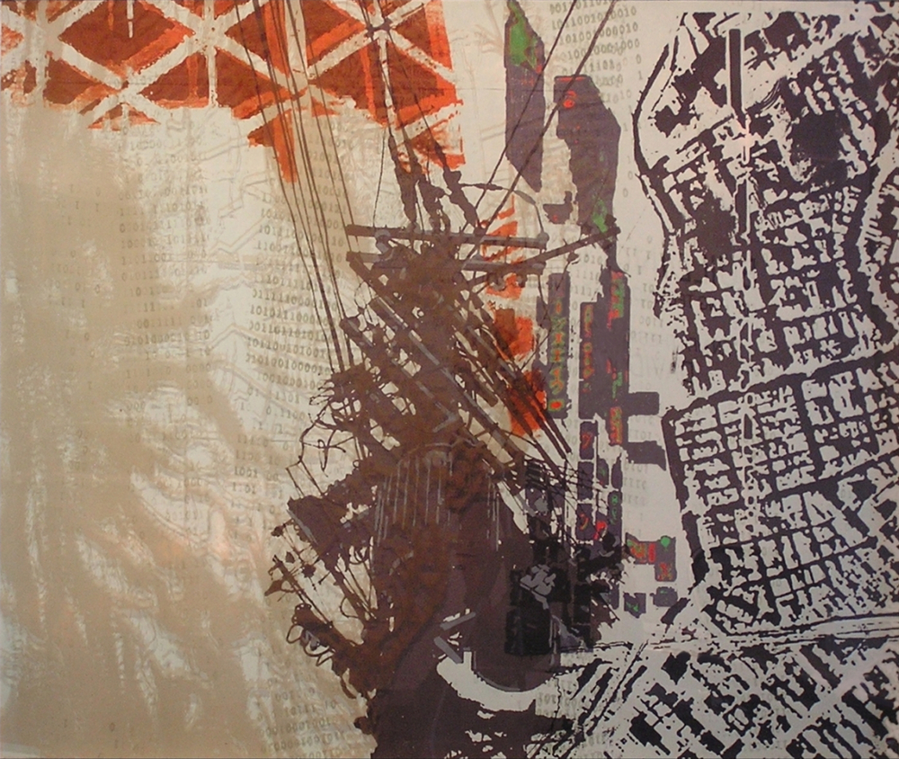 "Chiba City I, 36"" x 36"", Screen print on Rives and plexiglass,  2009"