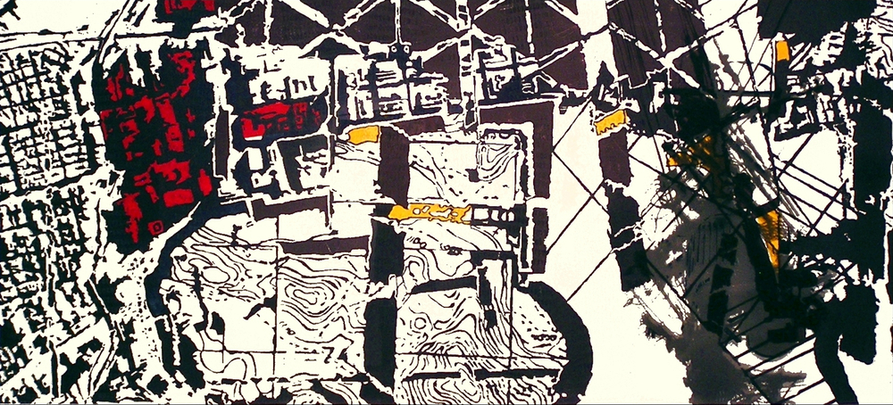 "Digital Sprawl II, 36"" x 72"", relief and screen print on Rives and plexiglass, 2009"