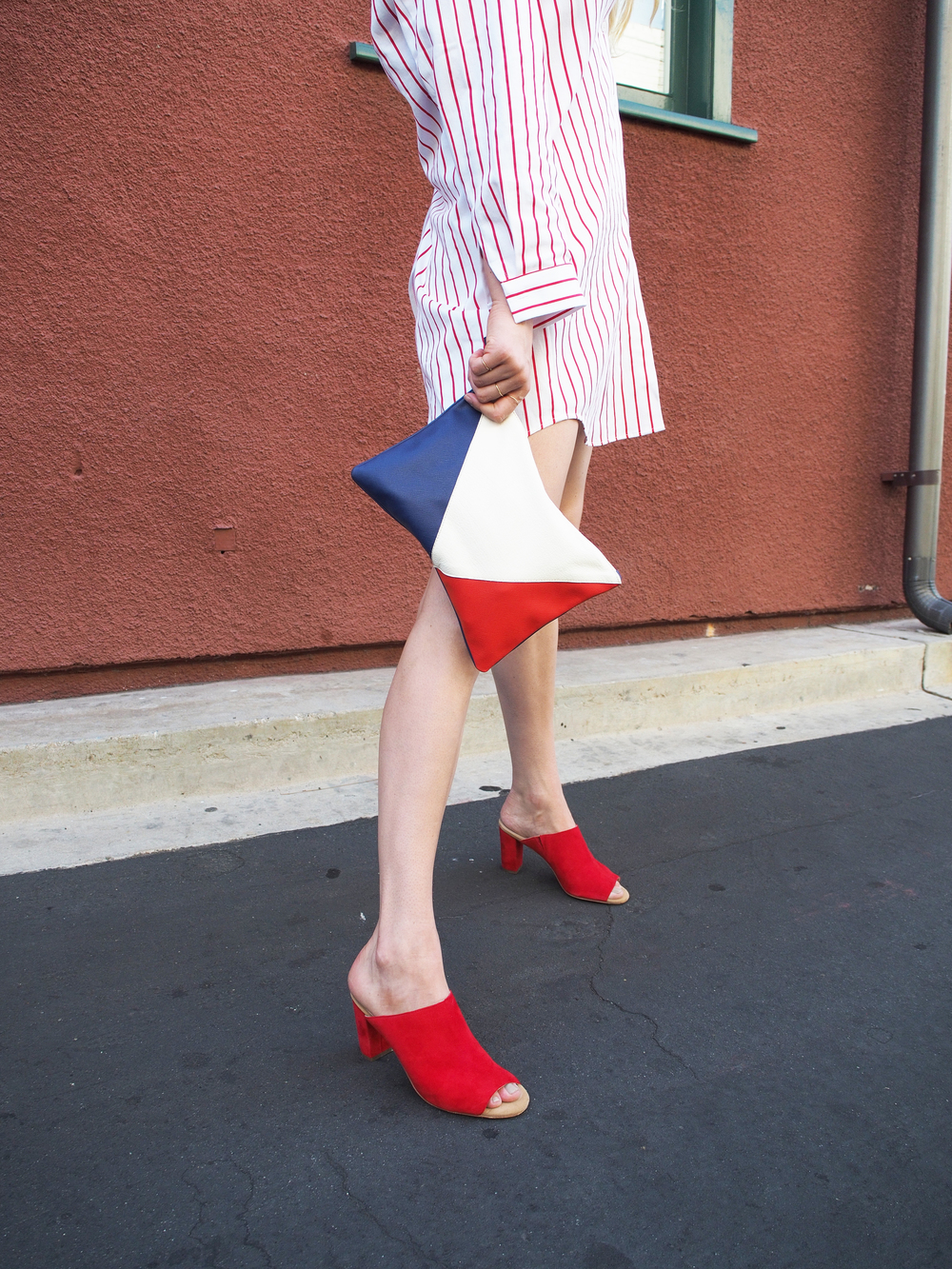 Double Sided Color Striped Shirt Clare V Charlotte Stone Morley Mules Street Style x Taylr Anne