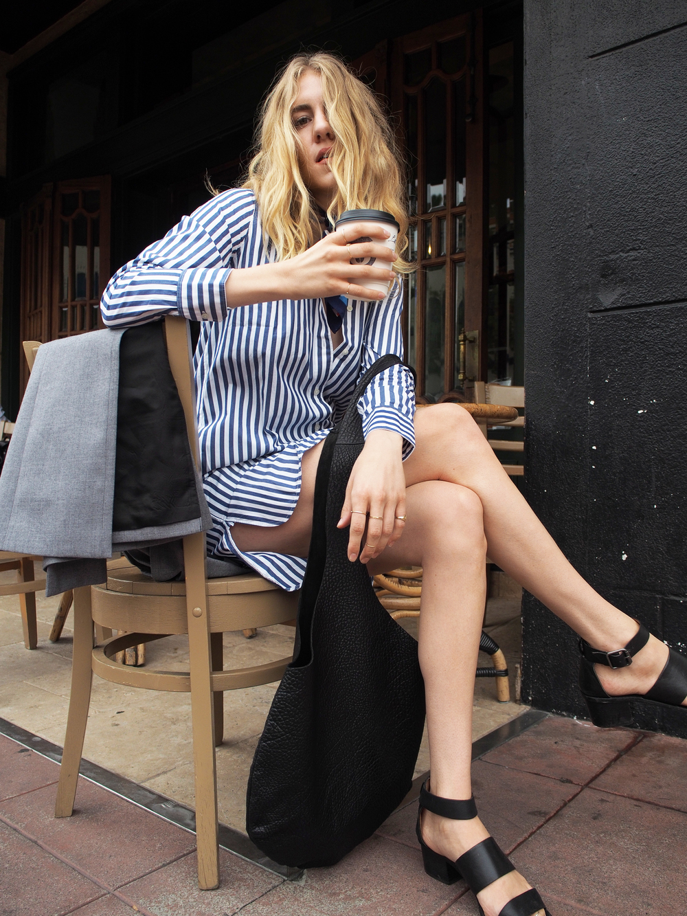 Everlane Striped Poplin Shirt Dress Two Penny Blue Vest MeChar Tote Madewell Sandals Coffee Street Style Look x Taylr Anne