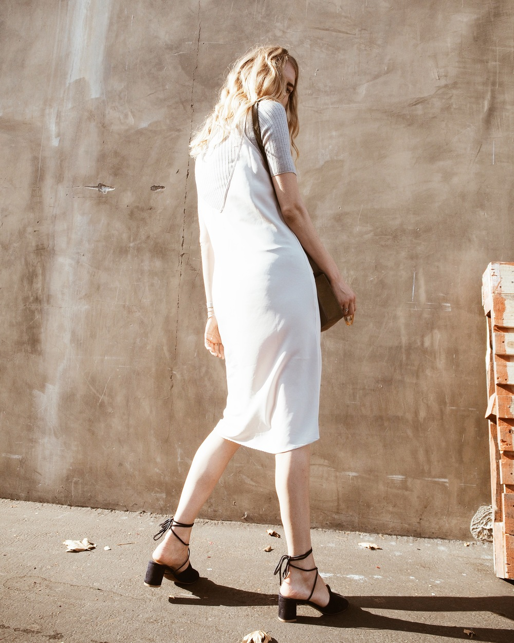 Everlane Ribbed Tee The Sept Label Camille Slip Dress ATP Atelier Aiale Cross Body Bag By Far Valentina Shoes Street Style Taylr Anne www.taylranne.com